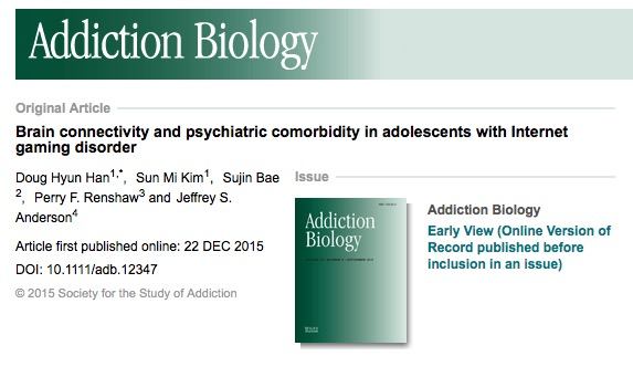 Han, Doug Hyun; Kim, Sun Mi; Bae, Sujin; Renshaw, Perry F.; Anderson, Jeffrey S. (2015) Brain connectivity and psychiatric comorbidity in adolescents with Internet gaming disorder // Addiction Biology