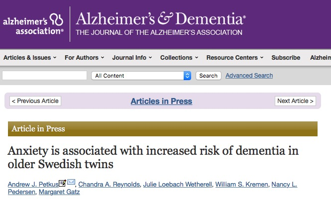 Petkus A. J. et al. Anxiety is associated with increased risk of dementia in older Swedish twins //Alzheimer's & Dementia. – 2015