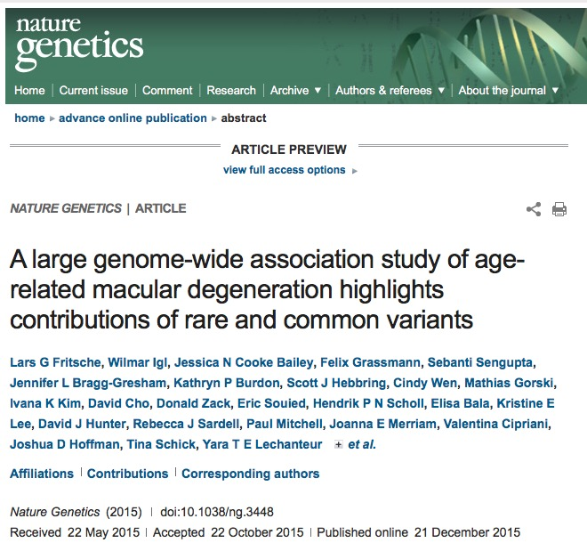Fritsche, Lars G; Igl, Wilmar; Bailey, Jessica N Cooke; Grassmann, Felix; Sengupta, Sebanti et al. (2015) A large genome-wide association study of age-related macular degeneration highlights contributions of rare and common variants // Nature