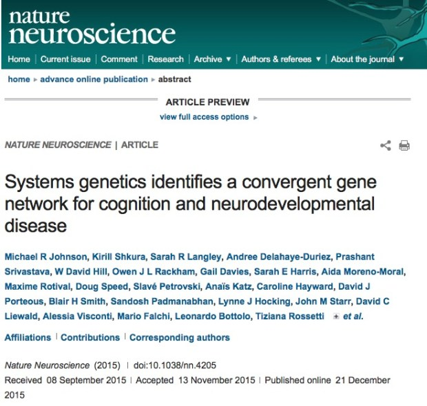 Johnson, Michael R; Shkura, Kirill; Langley, Sarah R; Delahaye-Duriez, Andree; Srivastava, Prashant et al. (2015) Systems genetics identifies a convergent gene network for cognition and neurodevelopmental disease // Nature