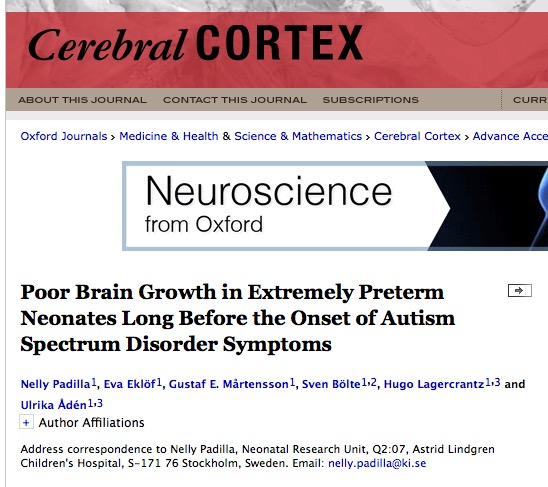 Padilla N. et al. Poor Brain Growth in Extremely Preterm Neonates Long Before the Onset of Autism Spectrum Disorder Symptoms //Cerebral Cortex. – 2015. – С. bhv300.