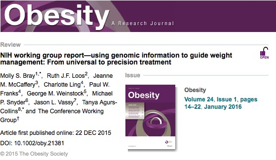 Bray M. S. et al. NIH working group report—using genomic information to guide weight management: From universal to precision treatment //Obesity. – 2016. – Т. 24. – №. 1. – С. 14-22.