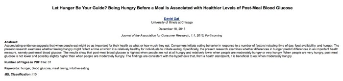 Gal D. Let Hunger Be Your Guide? Being Hungry Before a Meal Is Associated with Healthier Levels of Post-Meal Blood Glucose //Journal of the Association for Consumer Research. – 2015. – Т. 1. – С. 1.