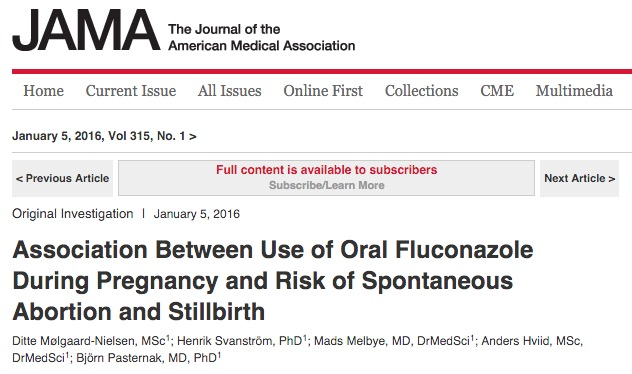 Mølgaard-Nielsen, Ditte; Svanström, Henrik; Melbye, Mads; Hviid, Anders; Pasternak, Björn (2016) Association Between Use of Oral Fluconazole During Pregnancy and Risk of Spontaneous Abortion and Stillbirth // JAMA - vol. 315 (1) - p. 58-67