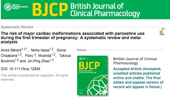 Bérard A. et al. The risk of major cardiac malformations associated with paroxetine use during the first trimester of pregnancy: A systematic review and meta‐analysis //British journal of clinical pharmacology. – 2015.