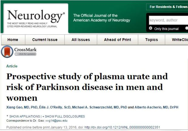 Xiang Gao et al. Prospective study of plasma urate and risk of Parkinson disease in men and women // Neurology - 2016.