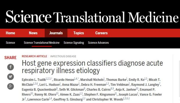 Host gene expression classifiers diagnose acute respiratory illness etiology ©