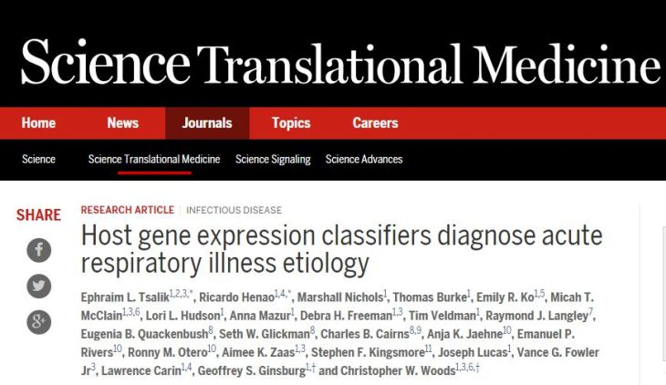 Host gene expression classifiers diagnose acute respiratory illness etiology ©