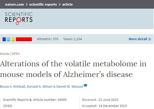 Kimball, Bruce A.; Wilson, Donald A.; Wesson, Daniel W. (2016) Alterations of the volatile metabolome in mouse models of Alzheimer's disease // Scientific Reports - vol. 6 - p. 19495
