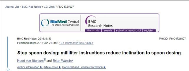 Stop spoon dosing: milliliter instructions reduce inclination to spoon dosing ©BMC Research Notes