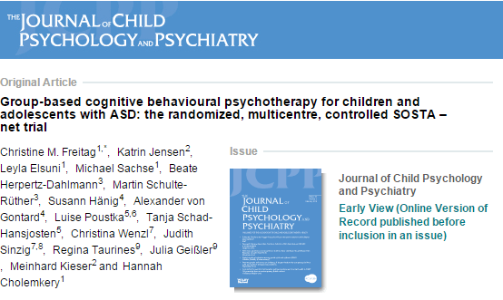 Group‐based cognitive behavioural psychotherapy for children and adolescents with ASD: the randomized, multicentre, controlled SOSTA–net trial
