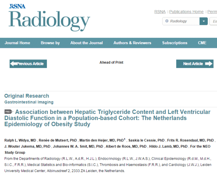 Association between Hepatic Triglyceride Content and Left Ventricular Diastolic Function in a Population-based Cohort: The Netherlands Epidemiology of Obesity Study ©