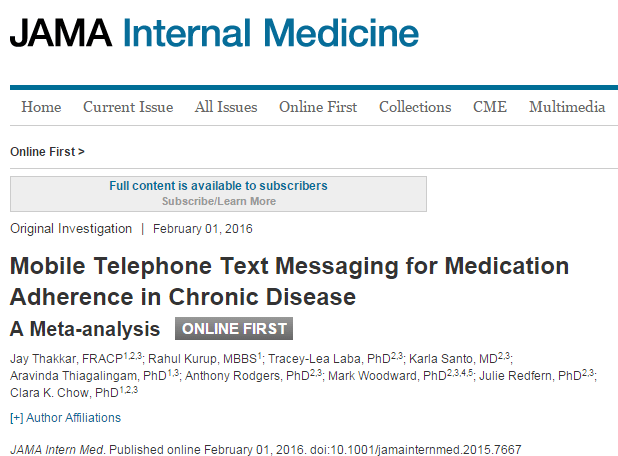 Mobile Telephone Text Messaging for Medication Adherence in Chronic Disease: A Meta-analysis © American Medical Association
