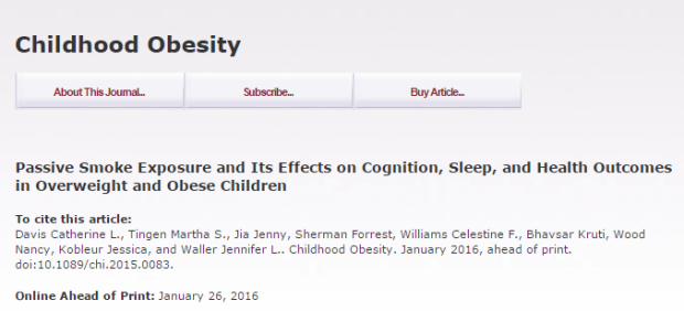Passive Smoke Exposure and Its Effects on Cognition, Sleep, and Health Outcomes in Overweight and Obese Children ©Mary Ann Liebert
