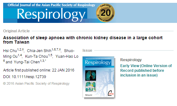 Association of sleep apnoea with chronic kidney disease in a large cohort from Taiwan © Asian Pacific Society of Respirolog