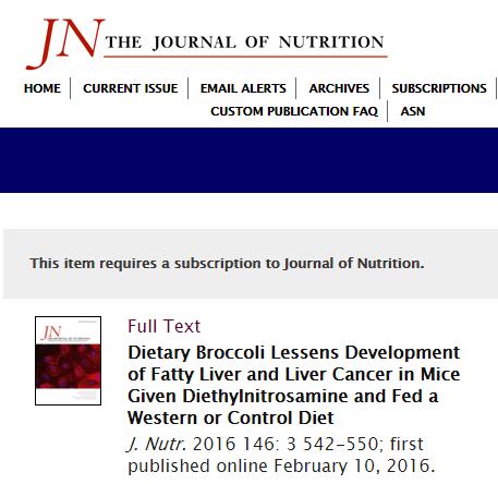 The Journal of Nutrition, рак печени, брокколи, сульфорафан, НАЖБП,