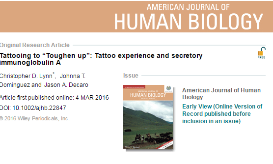 татуировка, инфекция, кортизол, American Journal of Human Biology