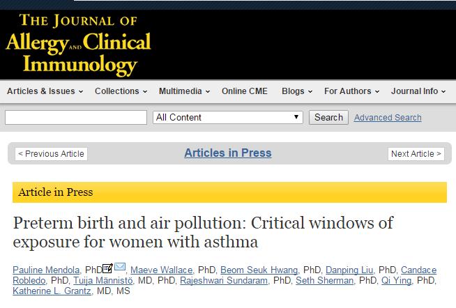 преждевременные роды, Journal of Allergy and Clinical Immunology, воздух,