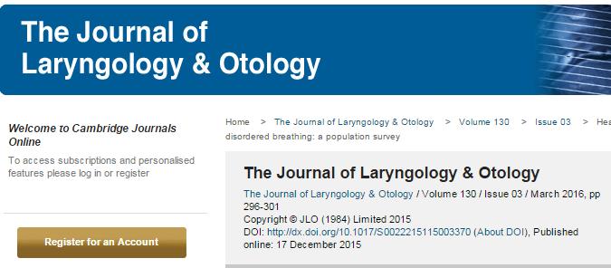 храп, дети, The Journal of Laryngology & Otology