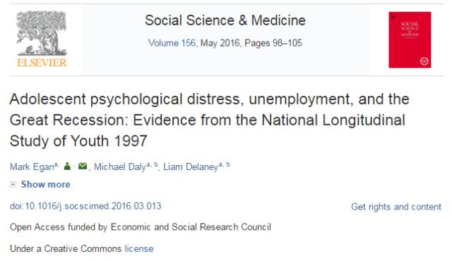 безработица, Science & Social Medicine