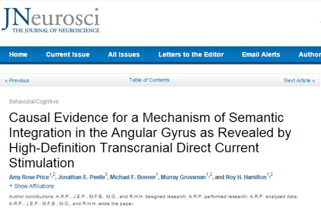 Journal of Neuroscience, семантическая память, транскраниальная магниная стимуляция