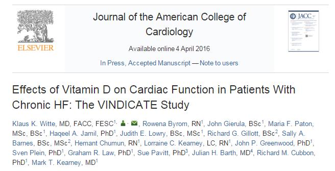 витамин D, сердечная недостаточность, Journal of the American College of Cardiology