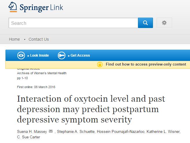 окситоцин, беременность, послеродовая депрессия, Archives of Women's Mental Health