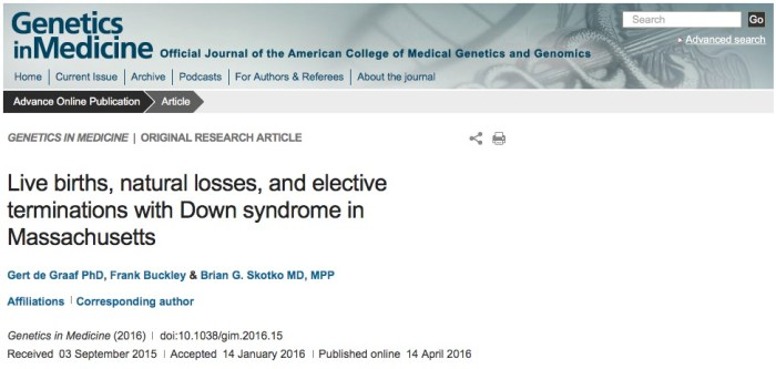 синдром Дауна, Genetics in Medicine