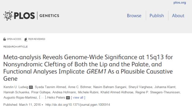заячья губа, волчья пасть, ген, PLOS Genetics