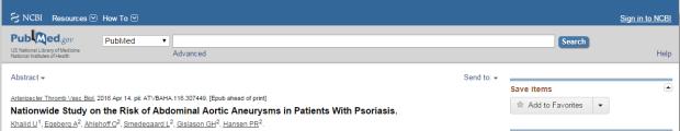 псориаз, аневризма аорты, Arteriosclerosis, Thrombosis and Vascular Biology