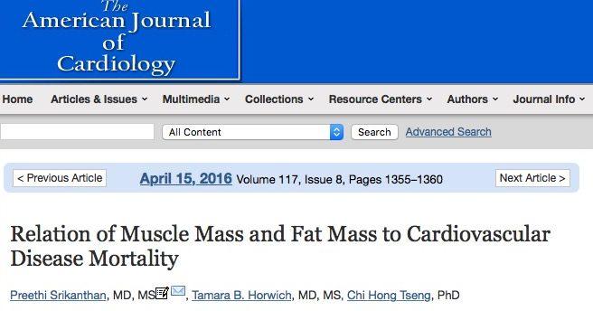 Высокая мышечная масса уменьшает риск смертности у пациентов с болезнями сердца