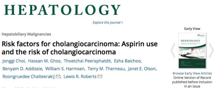 аспирин, рак желчных протоков, Hepatology