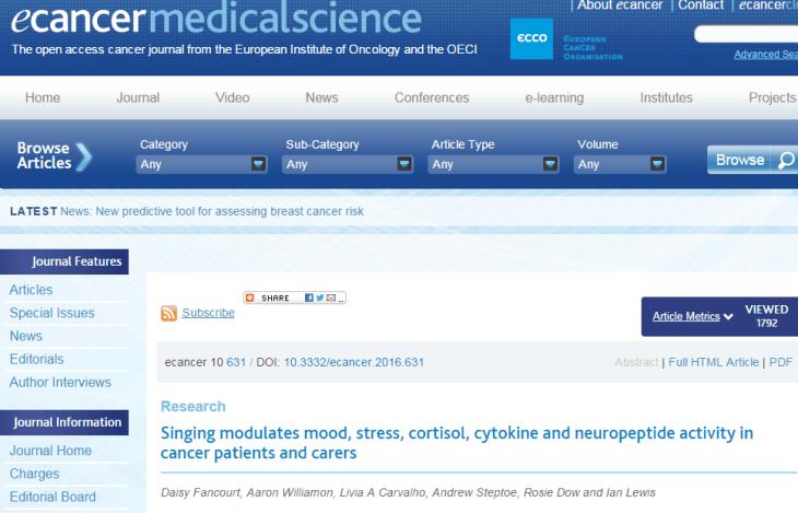 пение, рак, ecancermedicalscience