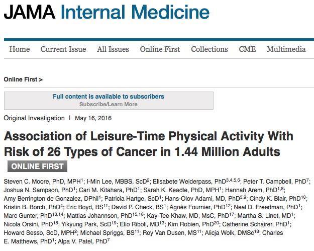 ходьба, рак, JAMA Internal Medicine