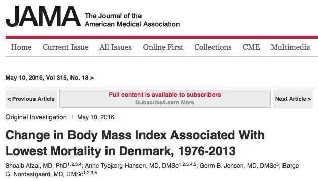 ожирение, смертность, JAMA