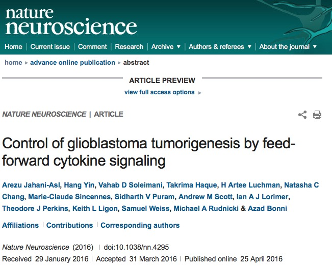 глиобластома, Nature Neuroscience