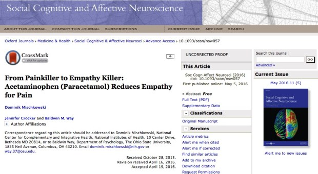 парацетамол, эмпатия