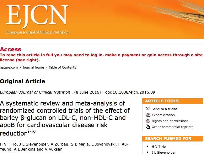 ячмень, холестерин, European Journal of Clinical Nutrition.