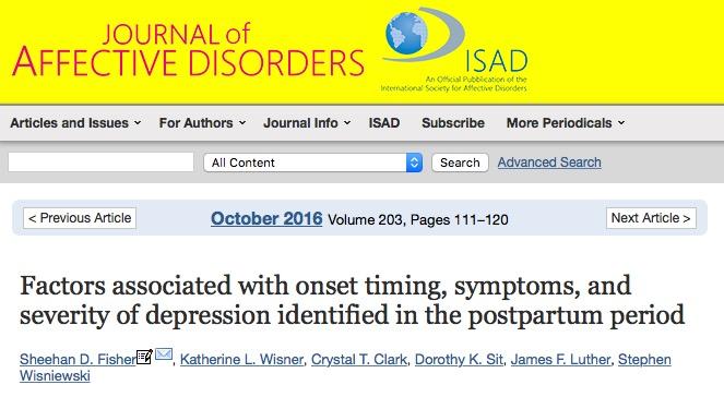 послеродовая депрессия, Journal of Affective Disorders