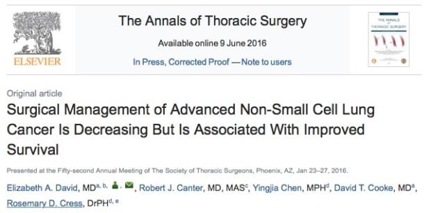 рак легких, The Annals of Thoracic Surgery