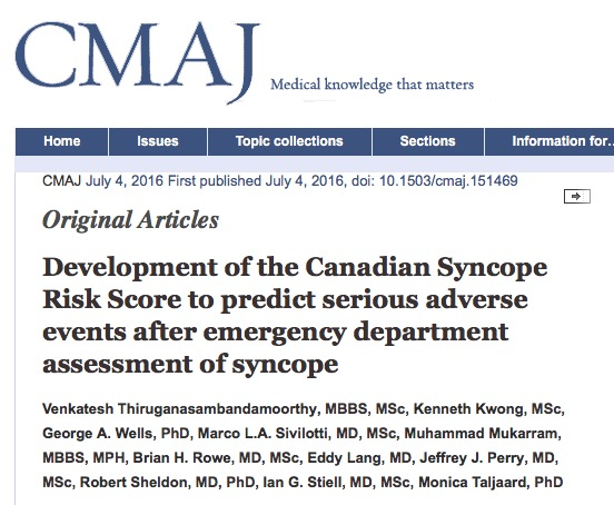 обморок, Canadian Medical Association Journal