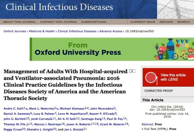 антибиотики, пневмония, Clinical Infectious Diseases