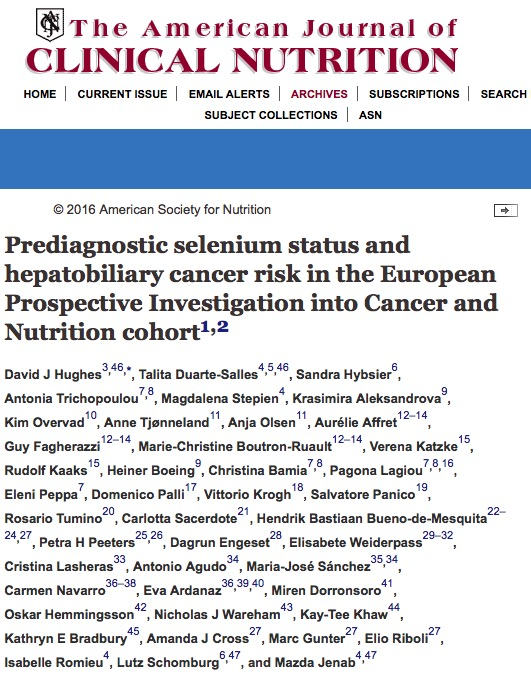 рак печени, The American Journal of Clinical Nutrition