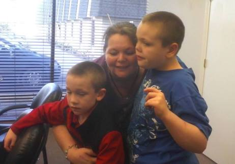 Dawn Cullins with boys in visit