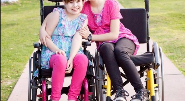 Diegel sisters in wheelchair
