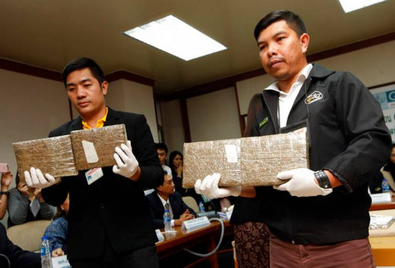 Police in Thailand hand in 100kg marijuana cannabis to researchers
