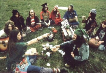 group of hippies using cannabis