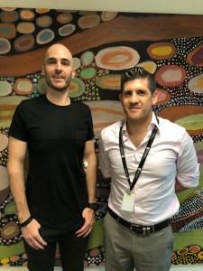 Australian Tourette's patients standing next to cannabis researcher in Australia