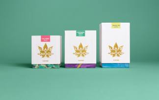 Range of cannabis products endorsed by Snoop Dogg on green background
