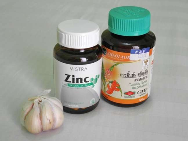 Immunity boosting combo also good for GI problems - garlic, zinc and turmeric. Can be found in supermarkets in Thailand